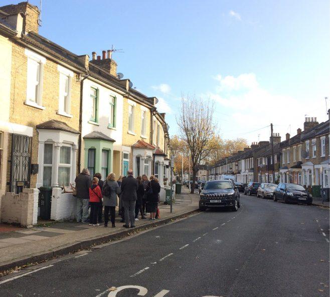 Local residents enjoying Discovering Stratford Village Walking Tours during Newham Heritage Week, November 2018. Courtesy Newham New Deal Partnership